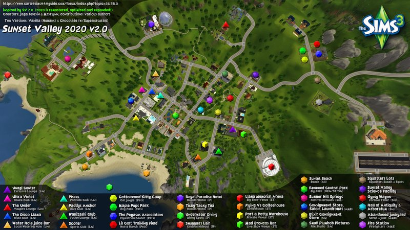 Sunset Valley 2020 World Map for The Sims 3